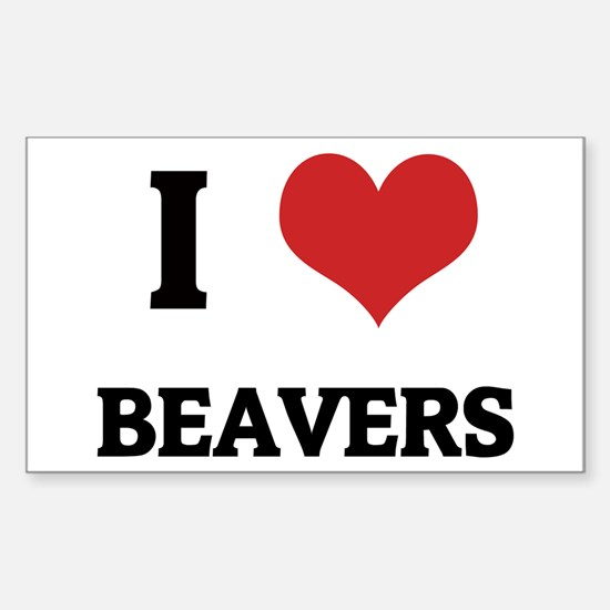 I Love Beavers Rectangle Decal