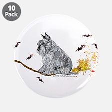 """Schnauzer Halloween Tricks 3.5"""" Button (10 pack)"""