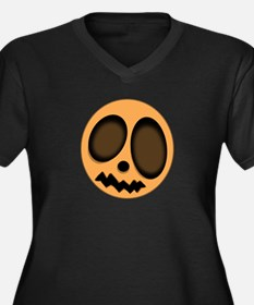 """Pumpkin Head"" Women's Plus Size V-Neck Dark T-Shi"