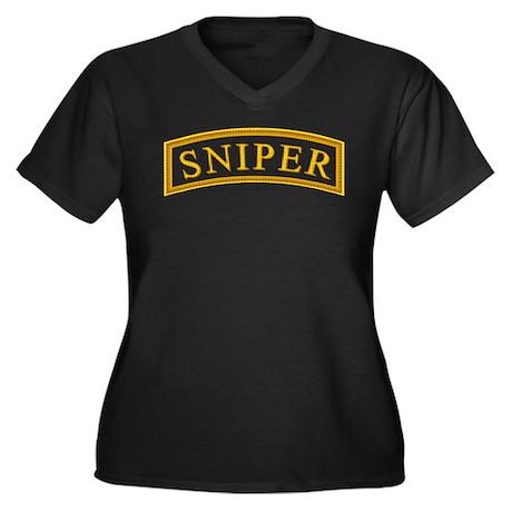 Sniper Tab Women's Plus Size V-Neck Dark T-Shirt