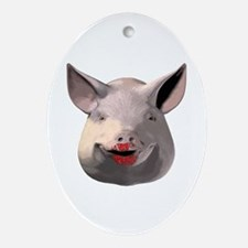 Lipstick Pig Oval Ornament