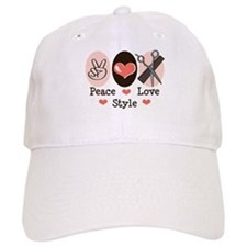 Peace Love Style Hairstylist Baseball Cap