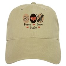 Peace Love Style Hairstylist Baseball Cap