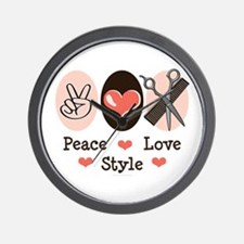 Peace Love Style Hairstylist Wall Clock
