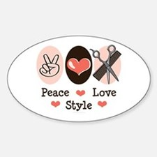 Peace Love Style Hairstylist Oval Decal