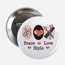 """Peace Love Style Hairstylist 2.25"""" Button"""