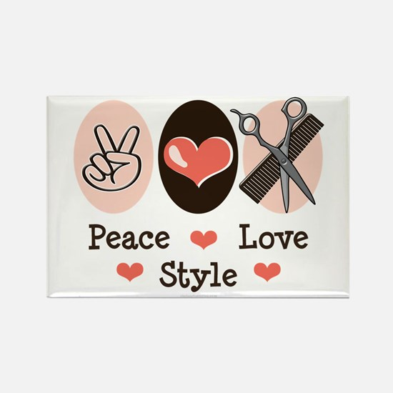 Peace Love Style Hairstylist Rectangle Magnet