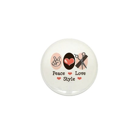 Peace Love Style Hairstylist Mini Button (10 pack)