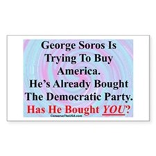 """""""George Soros Is Buying"""" Rectangle Decal"""