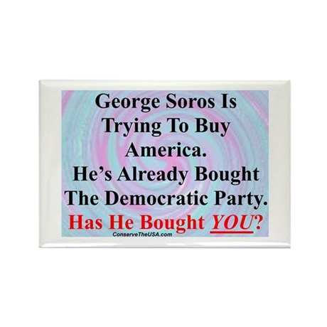 """""""George Soros Is Buying"""" Rectangle Magnet"""