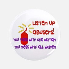 """Message To Abusers 3.5"""" Button"""