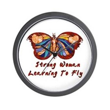 Strong Woman Learning To Fly Wall Clock