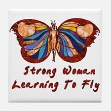 Strong Woman Learning To Fly Tile Coaster