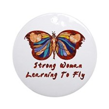 Strong Woman Learning To Fly Ornament (Round)