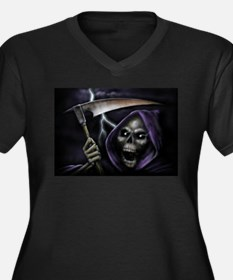 Halloween grim reaper Women's Plus Size V-Neck Dar