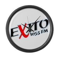 Radio Exito Logo Angled (Blac Large Wall Clock