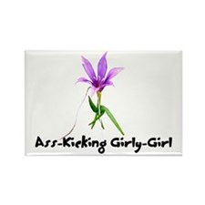 Ass-Kicking Girly-Girl Rectangle Magnet