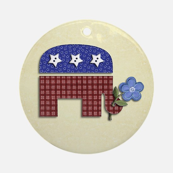 Patchwork Elephant 1 Ornament (Round)