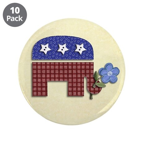 "Patchwork Elephant 1 3.5"" Button (10 pack)"