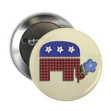 "Patchwork Elephant 1 2.25"" Button"