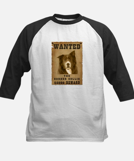 """Wanted"" Border Collie Kids Baseball Jersey"