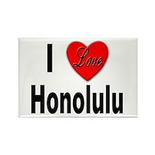 I Love Honolulu Rectangle Magnet