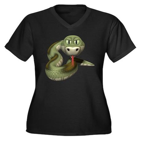 Snake Women's Plus Size V-Neck Dark T-Shirt