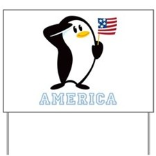 Proud Penguin AMERICA Yard Sign