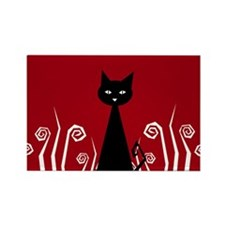 Black Cat Rectangle Magnet