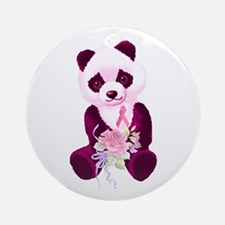 Breast Cancer Panda Bear Ornament (Round)