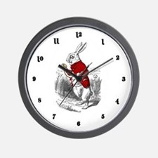 """The White Rabbit """"I'm Late"""" Wall Clock"""