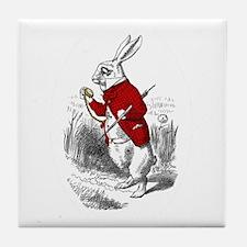 "The White Rabbit ""I'm Late"" Tile Coaster"