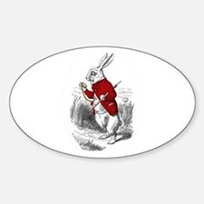 """The White Rabbit """"I'm Late"""" Oval Decal"""