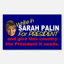 Write In Palin President Rectangle Decal