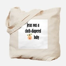 Jesus cloth-diapered baby Tote Bag