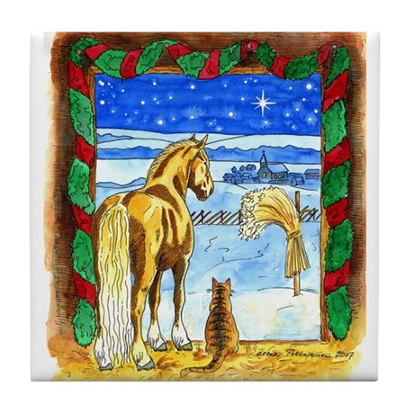 Stable Christmas Tile Coaster
