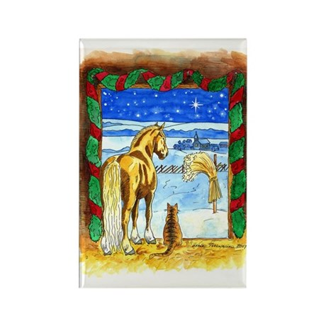 Stable Christmas Rectangle Magnet (100 pack)