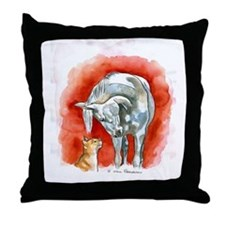 Horse and Cat Throw Pillow