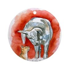 Horse and Cat Ornament (Round)