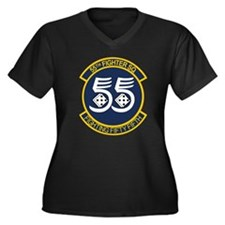 Cute Eagle military Women's Plus Size V-Neck Dark T-Shirt