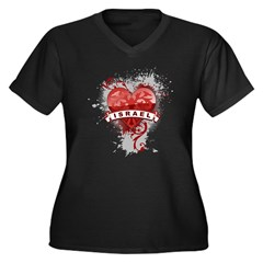 Heart Israel Women's Plus Size V-Neck Dark T-Shirt