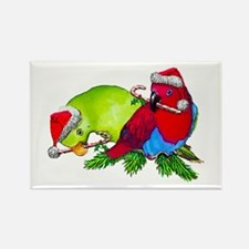 Christmas Parrot Rectangle Magnet