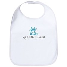 My brother is a cat - blue Bib