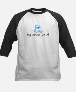 My brother is a cat - blue Kids Baseball Jersey
