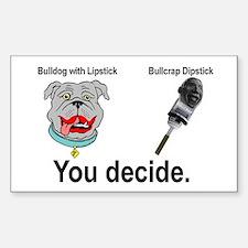 Lipstick Bulldog Rectangle Decal