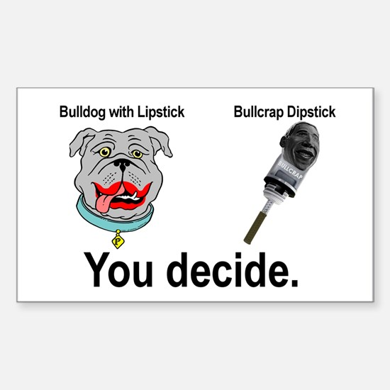 Lipstick Bulldog Rectangle Decal