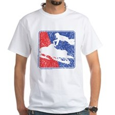 Red White and Blue Sledder Distressed Shirt