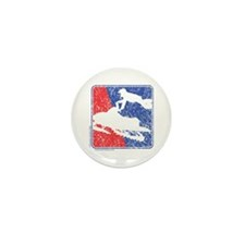 Red White and Blue Sledder Distressed Mini Button