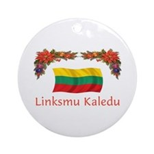 Lithuania Linksmu Kaledu 2 Ornament (Round)