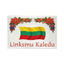 Lithuania Linksmu Kaledu 2 Rectangle Magnet